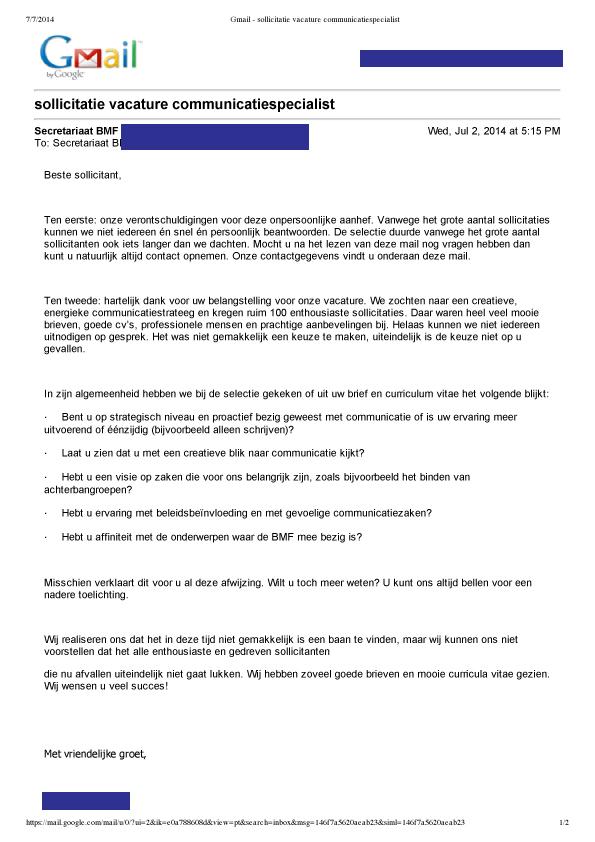 voorbeeld reactie op afwijzing sollicitatie Hoe wijs je sollicitanten goed af?